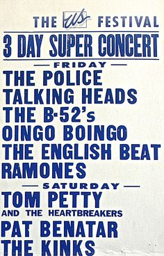 US Festival Concert Poster https://www.facebook.com/FromTheWaybackMachine