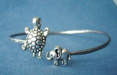 turtle bracelet with an elephant wrap style by stavroula on Etsy