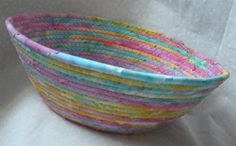 kitchen want.  bigish fabric coil bowl.  lime/red/aqua, and scrappy is fine.  no handles.