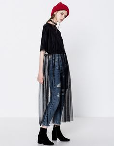 Robes Femmes - Pull&Bear Robe tulle manches courtes