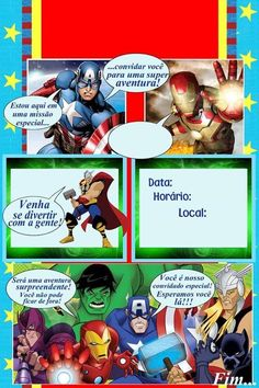 Convite Avengers, Superhero Party, Toy Story, Kids And Parenting, Gabriel, Mickey Mouse, Birthday, Nesta Data, 1