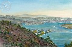 Cabrillo Point, California watercolor art by Ken Goldman. HD giclee art prints for sale at CaliforniaWatercolor.com - original California paintings, & premium giclee prints for sale