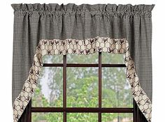 Primitive Country CHICKEN WIRE ROOSTER SWAG Black Cream Check Curtain Valance #Country