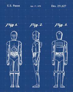 Star Wars C-3PO Patent Print Patent Art Poster Blueprint by VisualDesign on Etsy https://www.etsy.com/listing/207728915/star-wars-c-3po-patent-print-patent-art