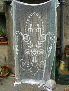 ART DECO Filet Lace chateau curtain!!!!  SOLD, but inspiringly beautiful in its design.