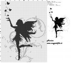 Fairy filet crochet.  Schema punto croce fata nera 100x133 2 colori.jpg (2.63 MB) Osservato 351 volte