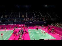 Olympics_2012_badminton_Women_s_Double_Japan_Vs_Denmark_1st_Set_Wembley_Arena_28_07_2012 Wembley Arena, Badminton, Denmark, Olympics, Basketball Court, Japan, Women, Okinawa Japan, Women's