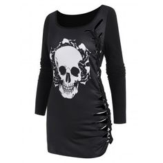 [30% OFF] 2021 Skull Graphic Cutout Braided Casual T Shirt In BLACK | DressLily M Color, Casual T Shirts, Long Tops, Polyester Spandex, Scoop Neck, Braids, Skull, Tunic, Tees