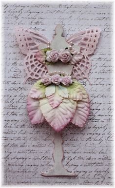 Angelica - shabby chic fairy dress form, Tim Holtz diecut , great for card topper or accent on scrapbook page or a tag.