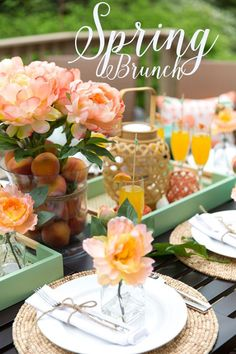"""& Mint"""" Brunch Party Style a gorgeous Peach & Mint Spring Brunch! All items from Target! Style a gorgeous Peach & Mint Spring Brunch! All items from Target! Brunch Party Decorations, Brunch Decor, Brunch Menu, Brunch Ideas, Brunch Food, Table Decorations, Birthday Brunch, Easter Brunch, 70th Birthday"""