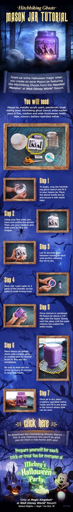 DIY Haunted Mansion mason jar tutorial! Mix 1 part water to 3 parts metallic acrylic paint to coat inside of jars, use Explore to cut vinyl to decorate outside of jar