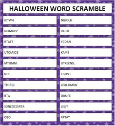 halloween word scramble free printable - Halloween Word Game