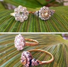 Victorian era cluster rings featuring a rose cut diamond center and a natural brownish yellow old cushion cut center