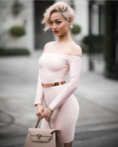 @Micahgianneli in HMS - Dress available here: http://www.hotmiamistyles.com/Nude_Off_Shoulder_Bandage_Dress_p/3826nude.htmn