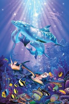 Christian Lassen ~ under sea art  I have this in a puzzle! It's truly beautiful :)