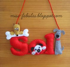Baby name felt dogs - Nombre bebe perritos en fieltro CONTACT: carmenmissfabulas@gmail.com