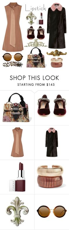 """""""Fall Lipstick"""" by nicolevalents ❤ liked on Polyvore featuring Miu Miu, ADAM, Shrimps, Clinique, Rosantica and Universal Lighting and Decor"""