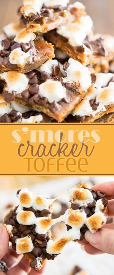 This S'mores Cracker Toffee should in fact be called Crack Toffee: once you start, you just can't stop! We're talking graham crackers drenched… Graham Cracker Toffee, Graham Crackers, Yummy Treats, Sweet Treats, Cracker Candy, Toffee Bars, S'mores Bar, Dessert Recipes, Xmas Recipes