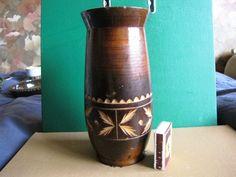 Vintage Folk Ethnic Made in USSR Russia Soviet Wood Carved Detailed Vase Decor