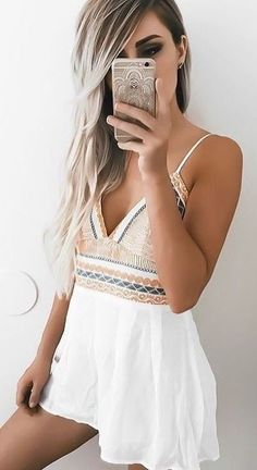 #summer #ultimate #outfits |  Cami Embroidered Romper