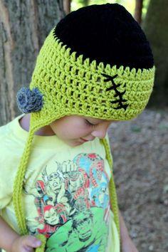 Frankenstein Halloween Crochet Earflap Hat Kid or by JulianBean, Crochet Fall, Halloween Crochet, Holiday Crochet, Crochet For Kids, Diy Crochet, Crochet Crafts, Yarn Crafts, Crochet Projects, Halloween Hats