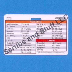 Laboratory Values Badge Card Reference for Nurse Medic EMT for ID Badge Clip Strap or Reel Horizontal. $1.99, via Etsy.