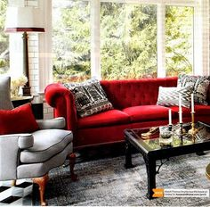 sadie + stella: Monday Musings: Wanting a red sofa, please