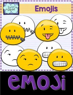 Emoji Smiley Faces Emoticons Clipart Bundle includes 24 colored and 24 line art images to represent some of the Whatsapp messenger emojis. Includes: - Showing teeth - Unamused - Zip - Winking w tongue