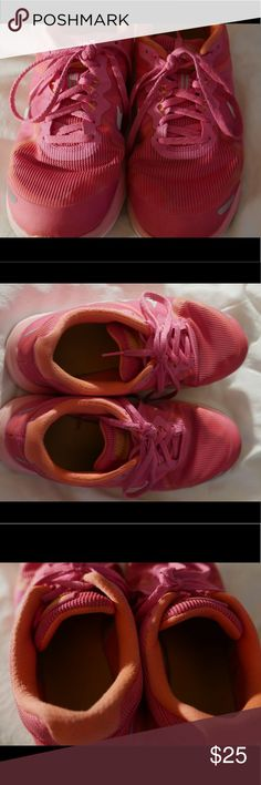 Nike Dual Fusion X2 in Hot Pink/Orange Gently used. Great condition.   Clean and smoke free home. Nike Shoes Sneakers