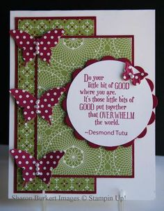 """Festival of Prints DSP, Very Vanilla cs, Cherry Cobbler ink and cs. Elegant Butterfly and 2-1/2"""" Circle punches. Perfect Pennants die and Beautiful Wings Embosslit. Pearls and Pursuit of Happiness stamp sets."""