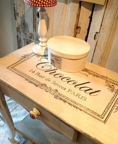 Chalk Paint Table with French Typography   and a great tutorial on graphite transfer paper too!