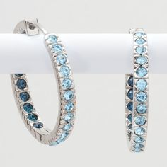Double Take Earrings, Blue - Brilliant color inside and out of these hoops. Aquamarine and Sapphire crystal. Just $43.00!