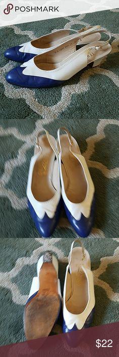 SALVATORE FERRAGAMO Blue White Heels Sz 11 Wear throughout, kitten heel. Salvatore Ferragamo Shoes Heels