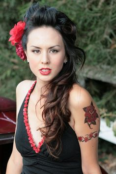 Red Lace and Roses ROCK a BILLY Pin up Girl Baby by julietsdream, $98.00