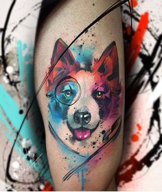 Dog tattoo by Pablo Ortiz Tattoo is part of - Very nice watercolor tattoo style of dog head motive done by artist Pablo Ortiz Tattoos Post 22137 World Tattoo Gallery Best place to Tattoo Arts Cat And Dog Tattoo, Dog Tattoos, Animal Tattoos, Body Art Tattoos, Small Tattoos, Tattoo Perro, Painting Tattoo, Watercolor Tattoos, Tattoo Und Piercing