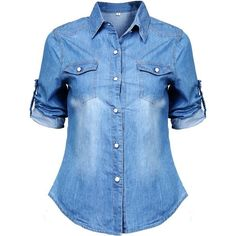 Women Long Sleeve Denim Blouse Office T Shirt Slim Tops (M(US6 Blue) (580 RUB) ❤ liked on Polyvore featuring tops, blouses, shirts, t-shirts, blue denim shirt, denim blouse, slim shirt, blue long sleeve blouse and slim-fit shirt