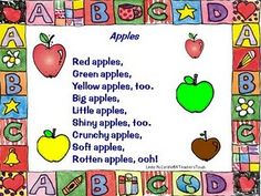 Apple Poems and Songs from A Teacher's Touch (printables and music)