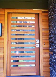 cedar front door stained black (get Stephen to custom make)