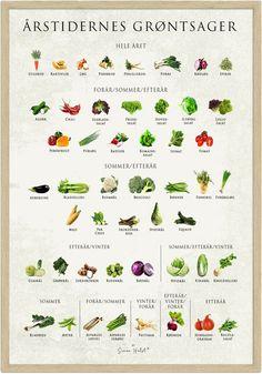 VITAMINER & MINERALER – Simon Holst Omega 3, Squash, Cantaloupe, Chile, Planters, Fruit, Health, Food, Poster