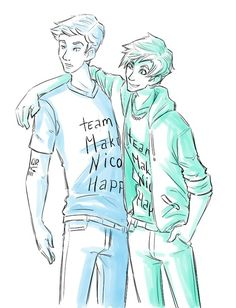 "Jason and Percy trying to cheer up Nico :) ""Team Make Nico Happy"""