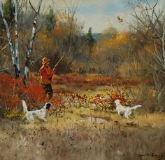 Bow hunting wild turkey can be a difficult thing. But with proper training and patience it can become a rewarding outdoor lifestyle hobbies hunting experience Grouse Hunting, Quail Hunting, Hunting Art, Pheasant Hunting, Duck Hunting, Hunting Dogs, Wildlife Paintings, Wildlife Art, Lakeland Terrier