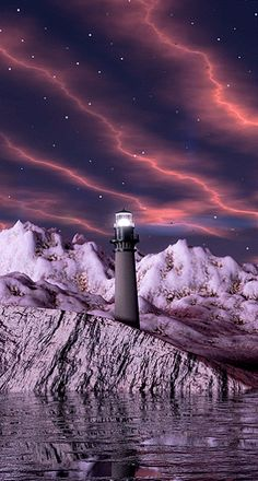 Fantasy Art Landscapes, Fantasy Landscape, Gif Pictures, Nature Pictures, Good Day Images, Amazing Photography, Nature Photography, Optical Illusion Gif, Lighthouse Pictures