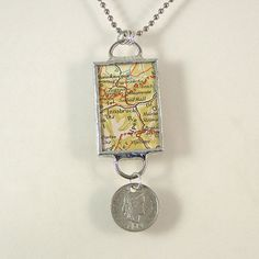 Innsbruck Switzerland Map and Coin Pendant Necklace by XOHandworks $25