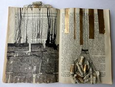 "out of a war story. altered book by Ines Seidel. The artist explains ""Instead of going on with their stories, these books remember where they came from and how everything began. I offered them black and white pictures of tree parts and dried twigs, all from my immediate surrounding. The books venture into a kind of regression therapy, where painful moments from childhood or even earlier lives are relived."""
