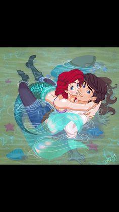 Ariel and Eric fan art.You can find Disney fan art and more on our website.Ariel and Eric fan art. Ariel Disney, Film Disney, Mermaid Disney, Ariel The Little Mermaid, Disney Magic, Disney Movies, Goth Disney, Disney Princesses, Disney Princess Drawings