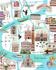Venezia Illustrated Map of Venice by Josie Portillo Travel Maps, Travel Posters, Places To Travel, Travel List, Travel Packing, Travel Destinations, Rome Florence, Venice Map, Gondola Venice
