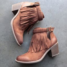 fringe cut-out chunky heel booties - shophearts - 1