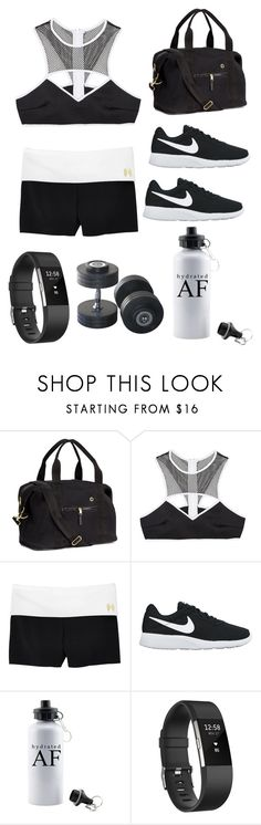 """Work hard play hard"" by queen-of-disasterxxi ❤ liked on Polyvore featuring H&M, This Is a Love Song, Victoria's Secret, NIKE and Fitbit"