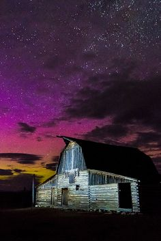 Northern Lights Above Moulton Barn, Grand Teton National Park, Wyoming