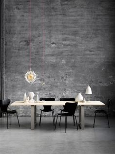 Grey, bright pink, black and white.  Perfect for dining